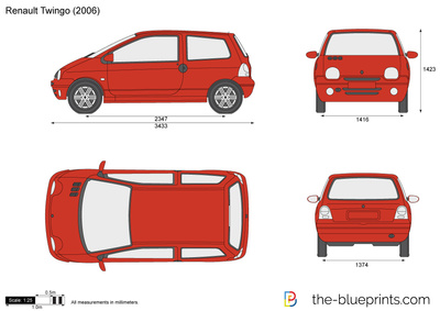 blueprints cars renault renault twingo 2006. Black Bedroom Furniture Sets. Home Design Ideas