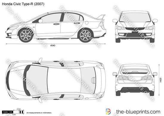 Honda Civic Type R Vector Drawing