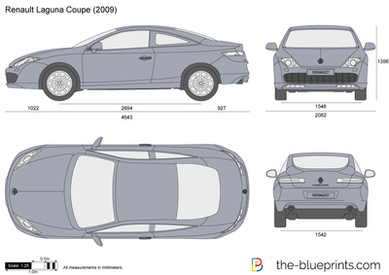 the blueprints pkw renault renault laguna iii coupe 2009. Black Bedroom Furniture Sets. Home Design Ideas