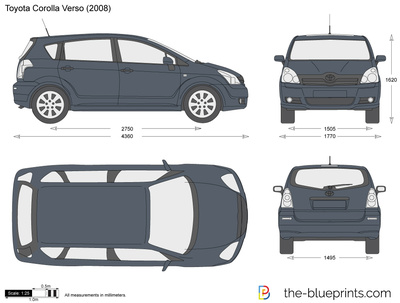 the-blueprints - vector drawing - toyota corolla verso