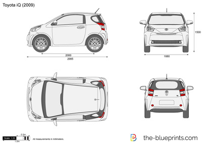 Toyota Iq Vector Drawing