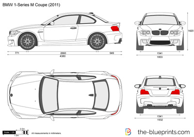 BMW 1-Series M Coupe E82 vector drawing
