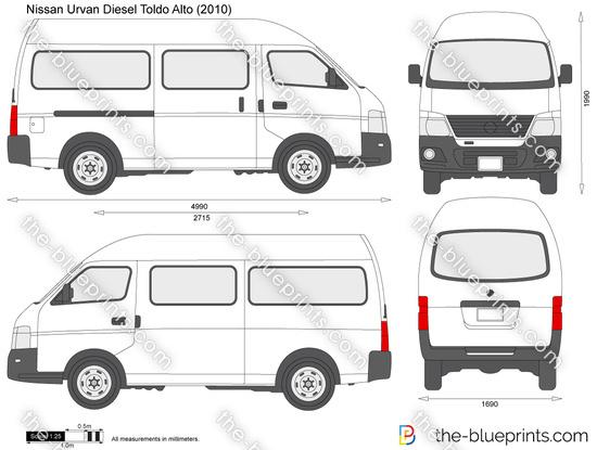 Nissan Navara Measurements >> Nissan Urvan Diesel Toldo Alto vector drawing