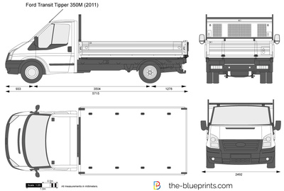 Ford Transit 350m >> The-Blueprints.com - Vector Drawing - Ford Transit Tipper 350M