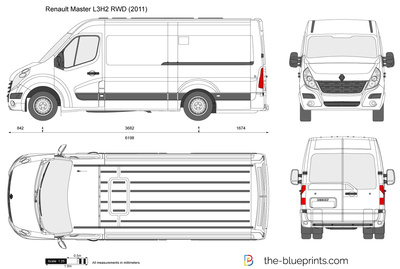 Renault Master L3h2 Rwd Vector Drawing