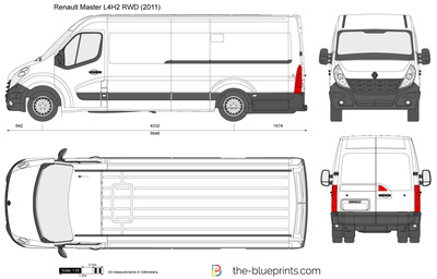 Renault Master L4H2 RWD vector drawing