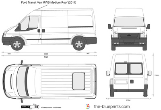 6707928179 Ford Transit Van MWB Medium Roof vector drawing