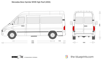 Mercedes Benz Sprinter Mwb High Roof Vector Drawing