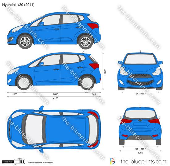 Hyundai ix20 vector drawing