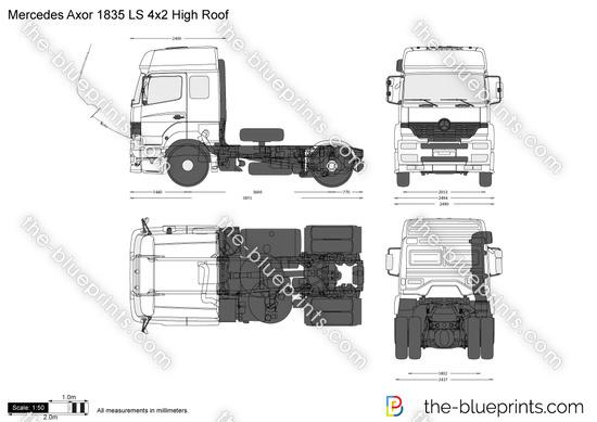 Mercedes Benz Axor 1835 Ls 4x2 High Roof Vector Drawing
