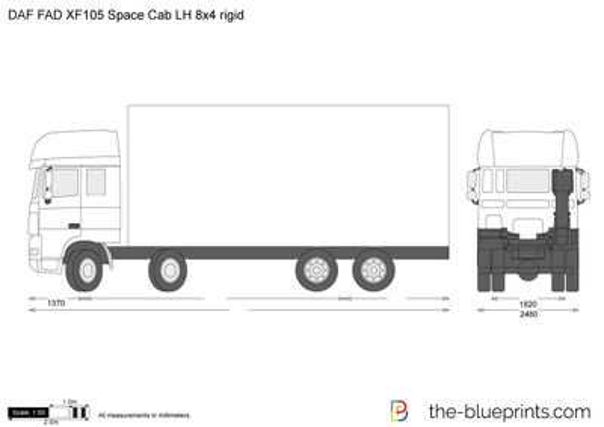 DAF FAD XF105 Space Cab LH 8x4 rigid