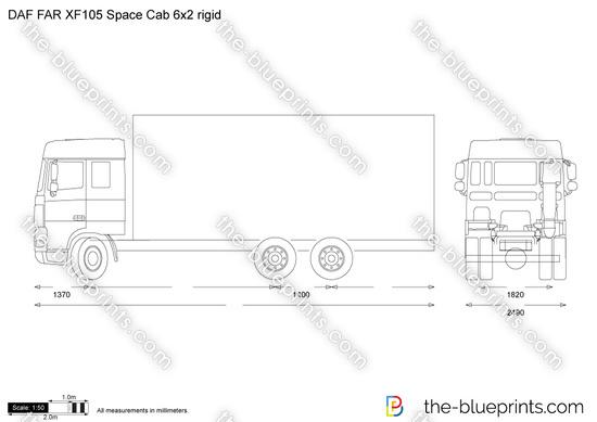 DAF FAR XF105 Space Cab 6x2 rigid