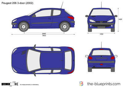 the vector drawing peugeot 206 3 door. Black Bedroom Furniture Sets. Home Design Ideas