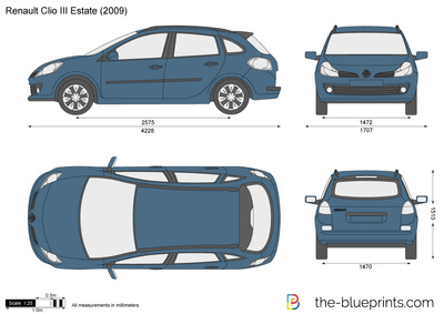 renault clio iii estate vector drawing. Black Bedroom Furniture Sets. Home Design Ideas