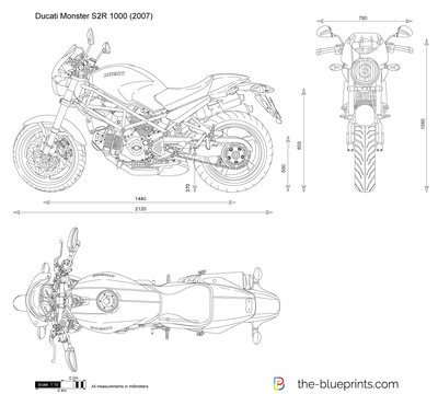 Ducati Monster S2r 1000 Vector Drawing