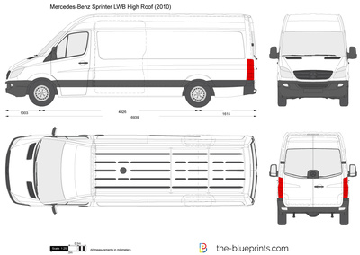 Mercedes Benz Sprinter Lwb High Roof Vector Drawing