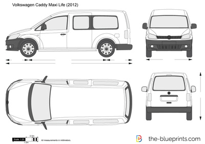 volkswagen caddy maxi life vector drawing. Black Bedroom Furniture Sets. Home Design Ideas