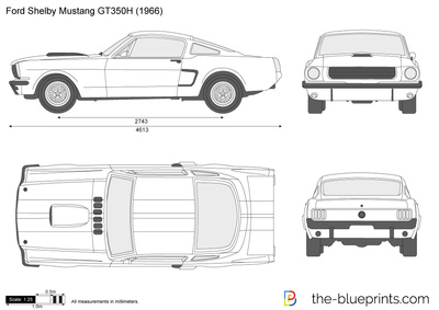 Ford Shelby Mustang Gt350h Vector Drawing