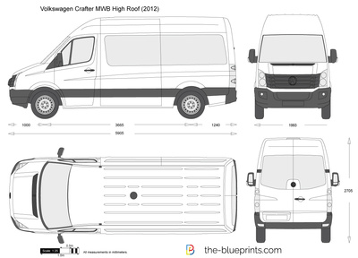 Volkswagen Crafter Mwb High Roof Vector Drawing