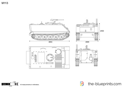 M113 Line Drawing Vector Drawing Preview M113