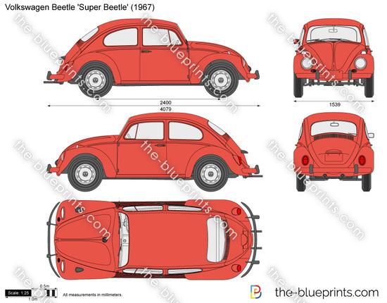 Volkswagen Beetle Super Beetle Vector Drawing