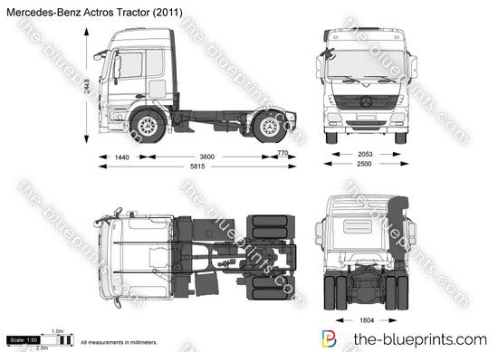 Mercedes Benz Actros Tractor Vector Drawing