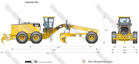 Caterpillar 24m motor grader vector drawing for Cat 24h motor grader