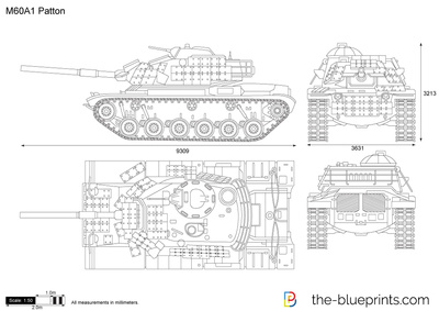 M60a1 patton vector drawing for Free scale drawing software