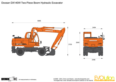 Doosan DX140W Two-Piece Boom Hydraulic Excavator