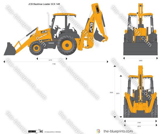 JCB 3CX 14ft Backhoe Loader Vector Drawing