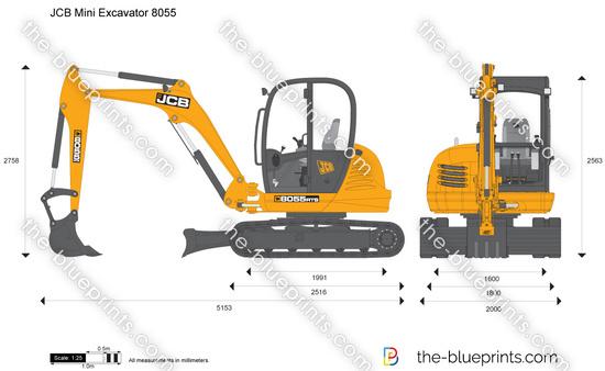 JCB 8055 Mini Excavator vector drawing