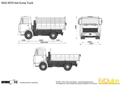 MAZ-4570 4x4 Dump Truck