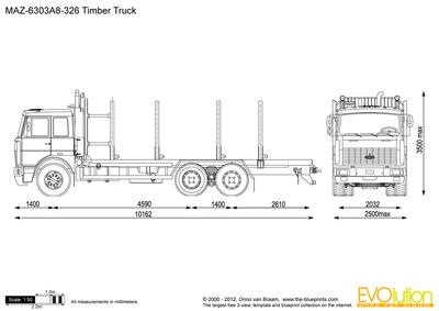 MAZ-6303A8-326 Timber Truck