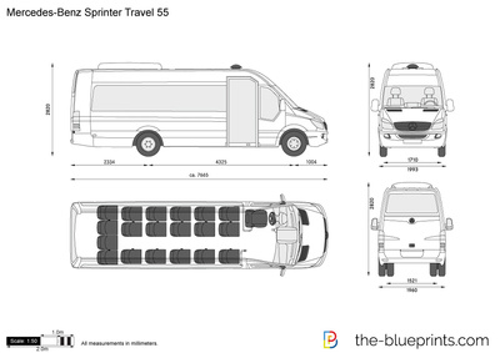 Mercedes Benz Travel Van >> Mercedes-Benz Sprinter Travel 55 vector drawing