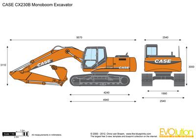 CASE CX230B Monoboom Excavator