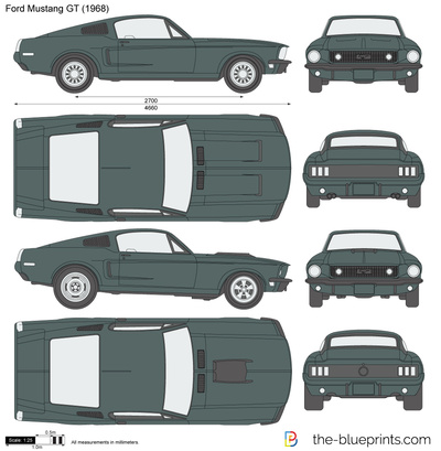 Blueprints Cars Ford Ford Mustang Gt 1968