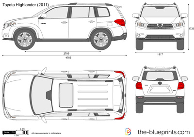 Toyota Highlander Vector Drawing