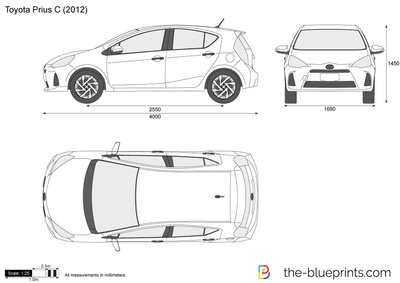 Toyota Prius C Vector Drawing
