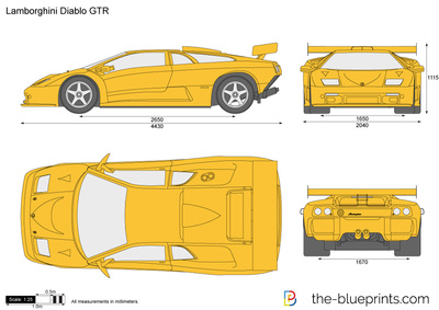 Lamborghini Diablo Gtr Vector Drawing