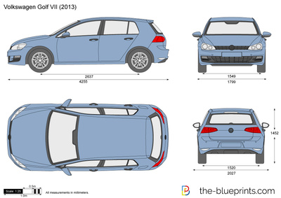 volkswagen golf vii 5 door vector drawing. Black Bedroom Furniture Sets. Home Design Ideas