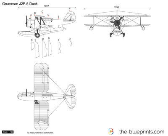 Grumman J2f 5 Duck Vector Drawing