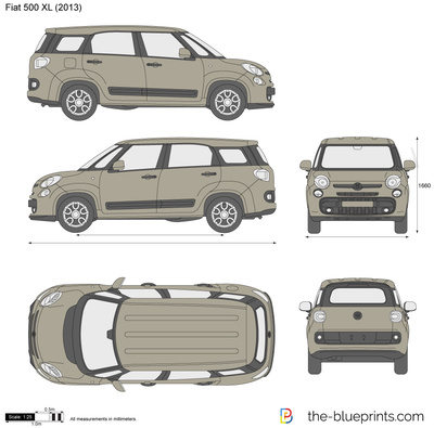 Fiat 500 Xl Vector Drawing