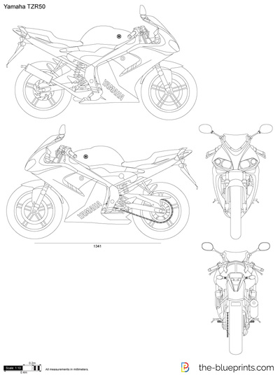 Yamaha Tzr50 Vector Drawing