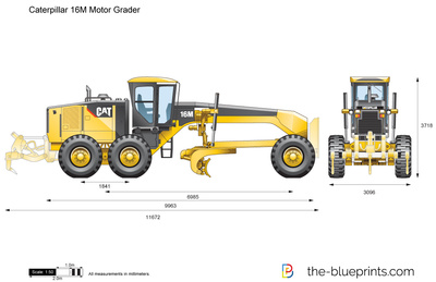 Vector drawing preview. Caterpillar 16M Motor Grader