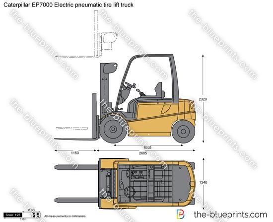Caterpillar EP7000 Electric pneumatic tire lift truck