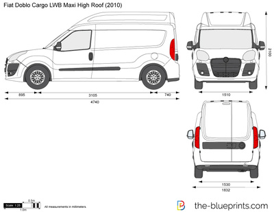 fiat doblo cargo lwb maxi high roof vector drawing. Black Bedroom Furniture Sets. Home Design Ideas