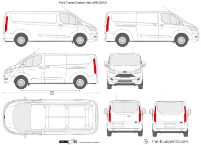 ford transit custom lwb l2h1 vector drawing. Black Bedroom Furniture Sets. Home Design Ideas