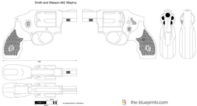 Smith and Wesson 442 38spl+p vector drawing