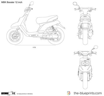 Mbk Booster 12 Inch Vector Drawing