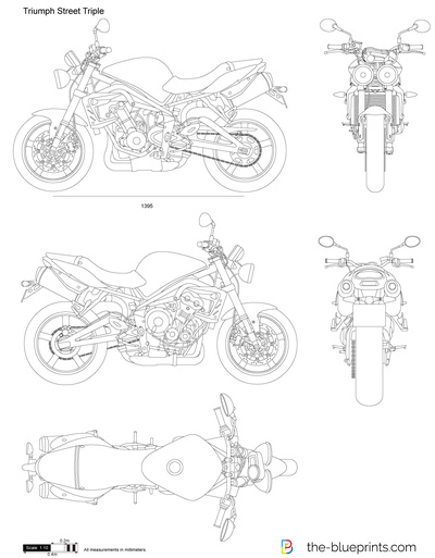 triumph street triple vector drawing